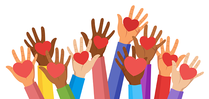 Many colorful hands raised, holding heart shapes